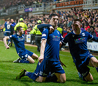 27th December 2019; Dens Park, Dundee, Scotland; Scottish Championship Football, Dundee Football Club versus Dundee United; Graham Dorrans of Dundee celebrates after scoring for 1-1 with Jordan Marshall  - Editorial Use