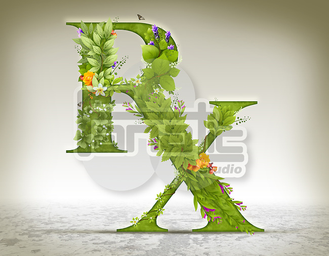 Illustration of RX symbol made of herbs over colored background