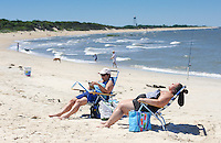 Sunbathers At Higbee Beach in Cape May, New jersey