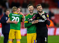 Preston North End's Paul Gallagher and Declan Rudd celebrates after the match<br /> <br /> Photographer Alex Dodd/CameraSport<br /> <br /> The EFL Sky Bet Championship - Middlesbrough v Preston North End - Wednesday 13th March 2019 - Riverside Stadium - Middlesbrough<br /> <br /> World Copyright &copy; 2019 CameraSport. All rights reserved. 43 Linden Ave. Countesthorpe. Leicester. England. LE8 5PG - Tel: +44 (0) 116 277 4147 - admin@camerasport.com - www.camerasport.com