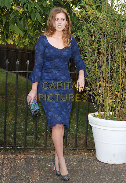 HRH Princess Beatrice<br /> Attending the Serpentine Gallery Summer Party at the Serpentine Gallery, London, England, UK, June 26th 2013.<br /> full length blue dress lace floral patterned print clutch bag royal royalty <br /> CAP/ROS<br /> &copy;Steve Ross/Capital Pictures
