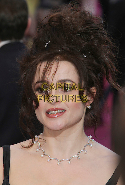 Helena Bonham Carter  .85th Annual Academy Awards held at the Dolby Theatre at Hollywood & Highland Center, Hollywood, California, USA..February 24th, 2013.oscars headshot portrait black necklace diamonds pearls  .CAP/ADM/SLP/COL.©Colin/StarlitePics/AdMedia/Capital Pictures