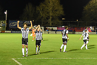 Grimsby Town players celebrate on the final whistle during the Vanarama National League match between Aldershot Town and Grimsby Town at the EBB Stadium, Aldershot, England on 5 April 2016. Photo by Paul Paxford / PRiME Media Images.
