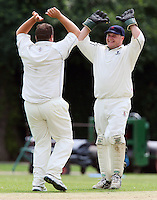 O Peck (L) and M Squibb of Upminster celebrate the wicket of E Khan - Upminster CC vs Gidea Park & Romford CC - Essex Cricket League at Upminster Park - 27/06/09- MANDATORY CREDIT: Gavin Ellis/TGSPHOTO - Self billing applies where appropriate - 0845 094 6026 - contact@tgsphoto.co.uk - NO UNPAID USE.