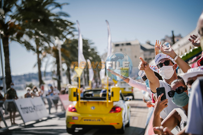 The publicity caravan along Promenade des Anglais before the start of Stage 2 of Tour de France 2020, running 186km from Nice Haut Pays to Nice, France. 30th August 2020.<br /> Picture: ASO/Pauline Ballet | Cyclefile<br /> All photos usage must carry mandatory copyright credit (© Cyclefile | ASO/Pauline Ballet)