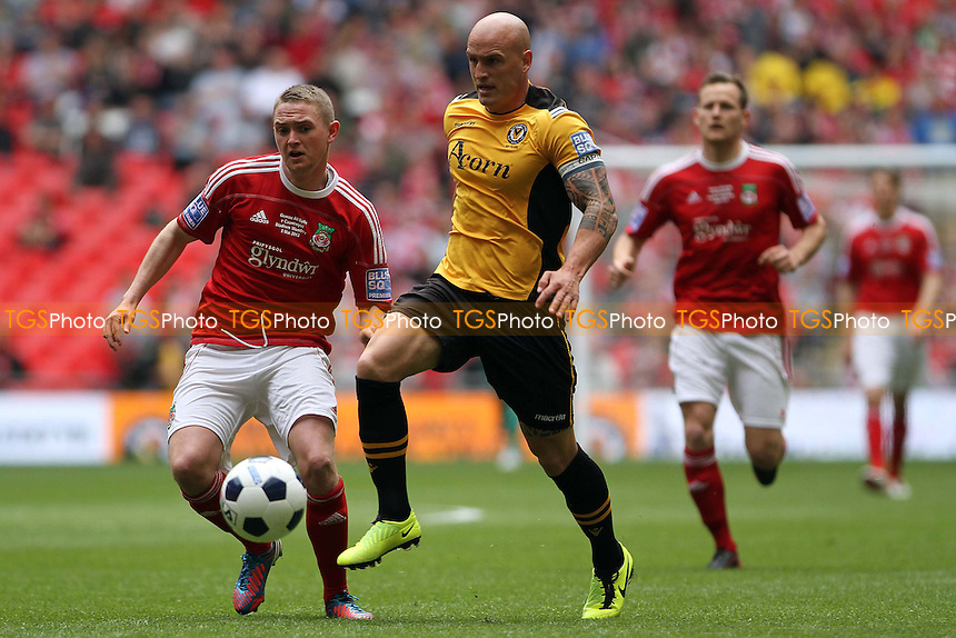Andrew Morrell (Wrexham FC) and David Pipe (Newport County AFC) - Newport County vs Wrexham - Blue Square Conference Play-Off Final Football at Wembley Stadium - 05/05/13 - MANDATORY CREDIT: Mick Kearns/TGSPHOTO - Self billing applies where appropriate - 0845 094 6026 - contact@tgsphoto.co.uk - NO UNPAID USE.