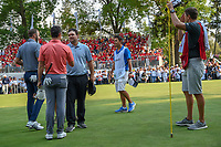 Patrick Reed (USA) shakes hands with Rory McIlroy (NIR) following round 4 of the World Golf Championships, Mexico, Club De Golf Chapultepec, Mexico City, Mexico. 2/24/2019.<br /> Picture: Golffile | Ken Murray<br /> <br /> <br /> All photo usage must carry mandatory copyright credit (© Golffile | Ken Murray)