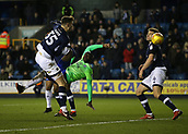9th February 2018, The Den, London, England; EFL Championship football, Millwall versus Cardiff City; Sol Bamba of Cardiff City with a overhead kick to score his sides 2nd goal but was ruled not a goal by Referee Keith Stroud due to a Cardiff player lying on the pitch injured