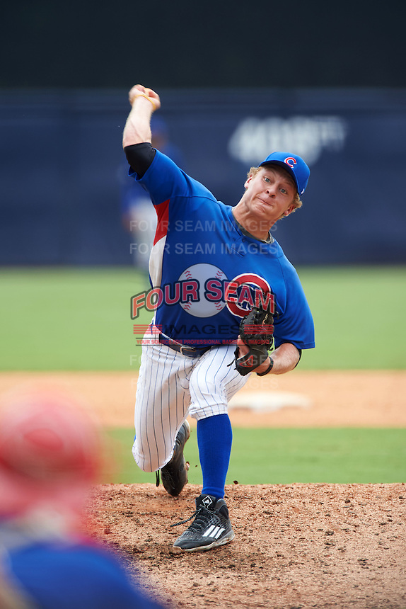 Pitcher Trent Vietmeier (13) of Montour High School in Pittsburgh, Pennsylvania playing for the Chicago Cubs scout team during the East Coast Pro Showcase on July 30, 2015 at George M. Steinbrenner Field in Tampa, Florida.  (Mike Janes/Four Seam Images)
