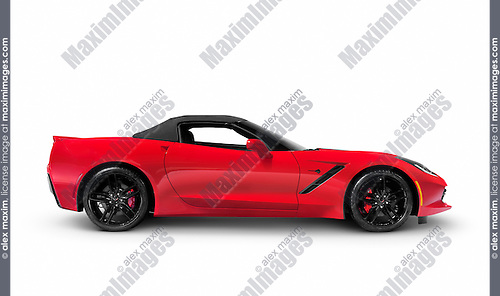 Red 2016 Chevrolet Corvette Stingray Z51 Convertible luxury sports car side view isolated on white background with clipping path