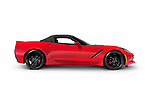 Red 2016 Chevrolet Corvette Stingray Z51 Convertible luxury sports car side view isolated on white background with clipping path Image © MaximImages, License at https://www.maximimages.com