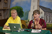 """PANNA MARIA, TX - SEPTEMBER 23, 2013: Wilma Subra, left, an environmental scientist who serves on the Board of Directors of Earhworks and serves is President of Subra Company, Inc., and Sharon Wilson, right, present a report titled, """"Reckless Endangerment While Fracking the Eagle Ford"""", to residents of Karnes County and surrounding areas at a public meeting. CREDIT: Lance Rosenfield/Prime"""