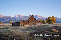 67545-09412 Sunrise at T.A. Moulton Barn in fall, Grand Teton National Park, WY