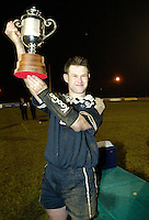 Cambridge University / Oxford University..24th PCubed Student Rugby League Varsity Match..Richmond Athletic Ground, March 3, 2004..Pic : Max Flego ..Oxford captain Jonny Scholes lifts the varsity trophy