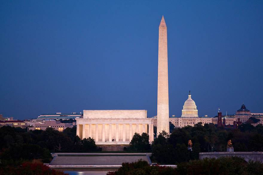 The Lincoln Memorial, Washington Monument, and United States Capitol at night in the Nation's Capital.