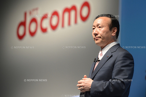 May 15, 2013, Tokyo, Japan - Kaoru Kato, president and chief executive officer of NTT Docomo Inc., speaks during a news conference in Tokyo on May 15, 2013. Japan's largest mobile carrier unveiled its 2013 summer lineup of 11 models, including nine smartphones, one tablet. (Photo by AFLO)