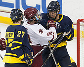 Patrick Kramer (Merrimack - 27), Colin White (BC - 18), Johnathan Kovacevic (Merrimack - 8) - The visiting Merrimack College Warriors defeated the Boston College Eagles 6 - 3 (EN) on Friday, February 10, 2017, at Kelley Rink in Conte Forum in Chestnut Hill, Massachusetts.