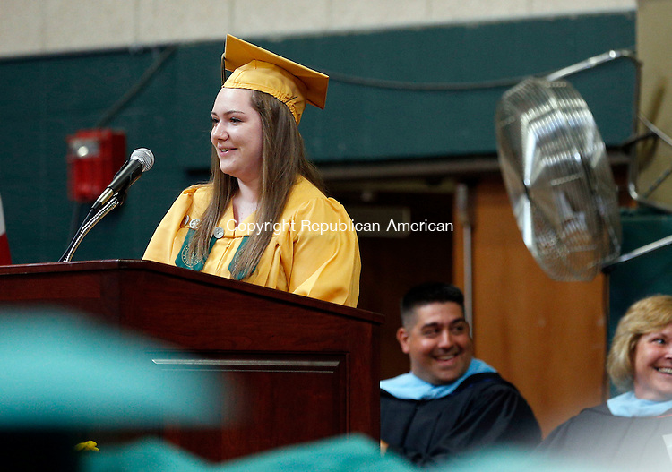 Waterbury, CT- 31 May 2015-053115CM06- Holy Cross High School graduate, Jenna Berkowitz gives the class commencement address at Holy Cross High School in Waterbury on Sunday.  Christopher Massa Republican-American