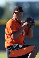 San Francisco Giants pitcher Luis Ysla (75) works on a side field during an Instructional League game against the SK Wyverns on October 14, 2014 at Giants Baseball Complex in Scottsdale, Arizona.  (Mike Janes/Four Seam Images)