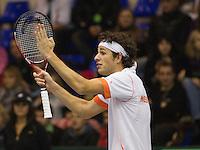 06-03-11, Tennis, Oekraine, Kharkov, Daviscup, Oekraine - Netherlands,  Bij Robin Haase lopen de emoties hoog op na een foute lijncall