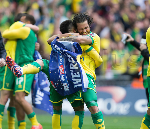 25.05.2015.  London, England. Skybet Championship Playoff Final. Middlesborough versus Norwich. Norwich City's Bradley Johnson celebrates at the final whistle as his side is promoted to the Premier league