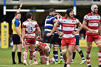 Francois Louw of Bath Rugby is congratulated by team-mates after securing a turnover. Aviva Premiership match, between Bath Rugby and Gloucester Rugby on April 30, 2017 at the Recreation Ground in Bath, England. Photo by: Patrick Khachfe / Onside Images