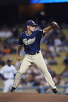 Jake Peavy of the San Diego Padres during a game against the Los Angeles Dodgers in a 2007 MLB season game at Dodger Stadium in Los Angeles, California. (Larry Goren/Four Seam Images)
