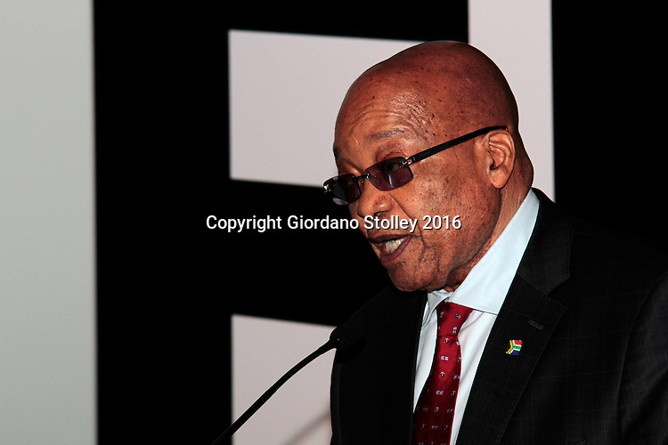 DURBAN - 24 May 2016 - South African president Jacob Zuma (second from left) speaks at  the official launch by Toyota of its new Hilux and Fortuner ranges at its plant in Durban. Picture: Allied Picture Press (APP)