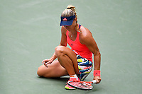 NEW YORK, USA - SEPT 10, Angelique Kerber of Germany smash her racket on the court after losing a point against Karolina Pliskova of Czech Republic during their Women's Singles Final Match of the 2016 US Open at the USTA Billie Jean King National Tennis Center on September 10, 2016 in New York.  photo by VIEWpress