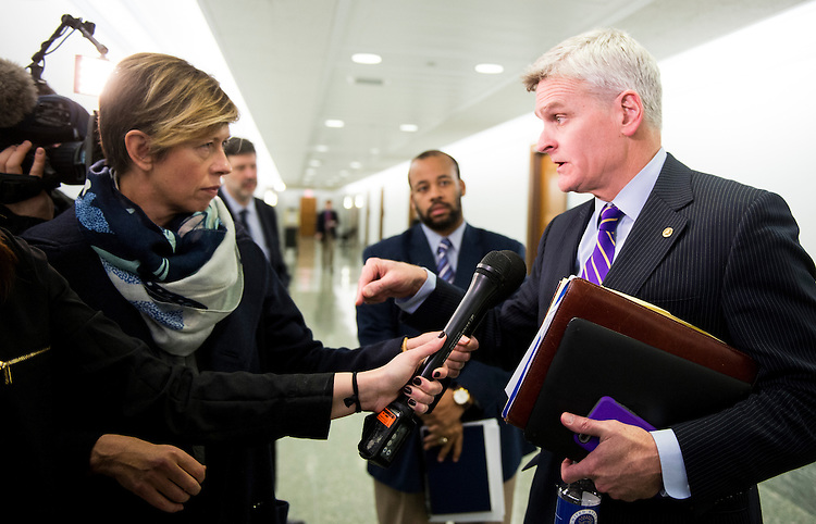 UNITED STATES - JANUARY 31: Sen. Bill Cassidy, R-La.,  speaks to reporters outside of the Senate Finance Committee markup hearing for the nominations of Steven Mnuchin to be Secretary of the Treasury, and Rep. Tom Price, R-Ga., to be Secretary of Health and Human Services on Tuesday, Jan. 31, 2017. (Photo By Bill Clark/CQ Roll Call)