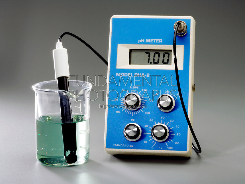 USING A pH METER WITH BROMOTHYMOL BLUE INDICATOR<br /> (1 of 3 - Variations Available).<br /> <br /> Pure Water At 298K Has a Neutral pH of 7<br /> <br /> pH, used to express degree of acidity, is an index of hydrogen's chemical activity in a solution. At pH 7 the acid ( H3O+) and base (OH) concentrations are equal &amp; the solution, water, is neutral, the indicator is green.