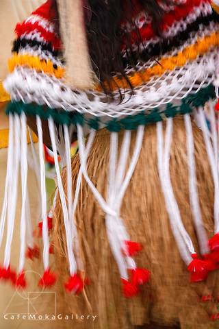 Amerindians - Close up of a dancing woman's national dress - grass skirt and shawl in motion the Smoke ceremony in Arima, Trinidad
