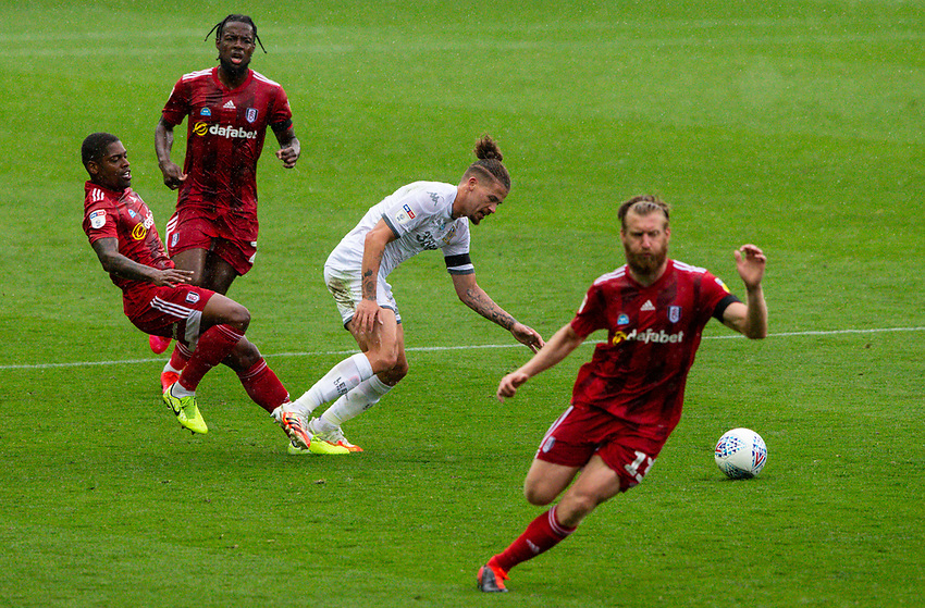 Leeds United's Kalvin Phillips is fouled by Fulham's Ivan Cavaleiro<br /> <br /> Photographer Alex Dodd/CameraSport<br /> <br /> The EFL Sky Bet Championship - Leeds United v Fulham - Wednesday 24th June 2020 - Elland Road - Leeds<br /> <br /> World Copyright © 2020 CameraSport. All rights reserved. 43 Linden Ave. Countesthorpe. Leicester. England. LE8 5PG - Tel: +44 (0) 116 277 4147 - admin@camerasport.com - www.camerasport.com<br /> <br /> Photographer Alex Dodd/CameraSport<br /> <br /> The Premier League - Newcastle United v Aston Villa - Wednesday 24th June 2020 - St James' Park - Newcastle <br /> <br /> World Copyright © 2020 CameraSport. All rights reserved. 43 Linden Ave. Countesthorpe. Leicester. England. LE8 5PG - Tel: +44 (0) 116 277 4147 - admin@camerasport.com - www.camerasport.com