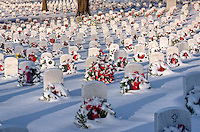 "Fort Smith National Cenetery on Crhistmas Morning during a rare ""White Christmas"".  The Cemetery is decorated with a wreath on each of the 12,000 headstones to honor the servicemen and women who have made the ultimate sacrifice for our nation."