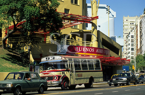 Buenos Aires, Argentina. Old fashioned bus passing the Buenos Aires Design Centre.