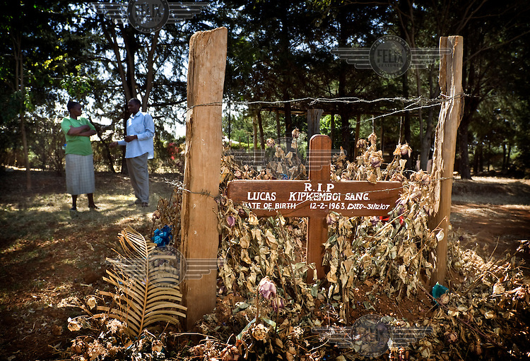 Grave of Lucas Sang, a retired athlete, killed in violent clashes in Eldoret after disputed general elections led to widespread violence in December 2007.