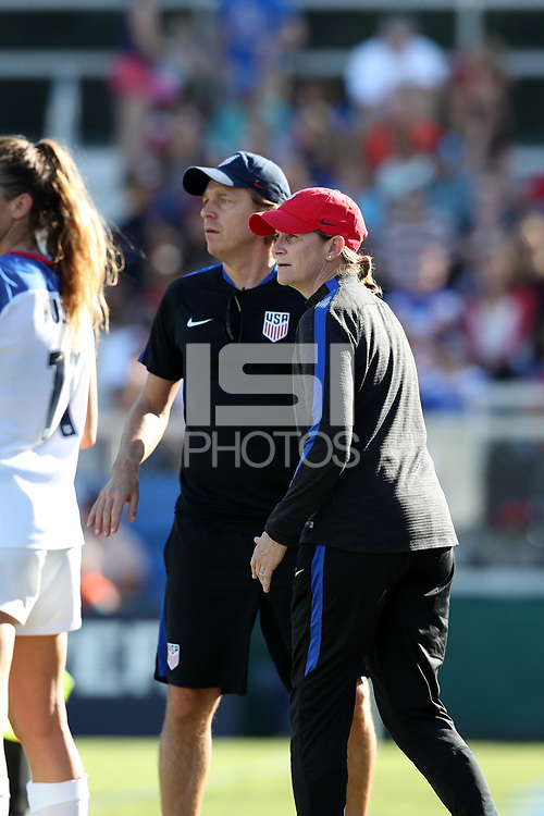 Cary, NC - Sunday October 22, 2017: Jill Ellis and Tony Gustafsson during an International friendly match between the Women's National teams of the United States (USA) and South Korea (KOR) at Sahlen's Stadium at WakeMed Soccer Park. The U.S. won the game 6-0.