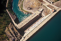 Vertical overhead aerial view of BC Hydro's Revelstoke Dam on the Columbia River.  BC, Canada