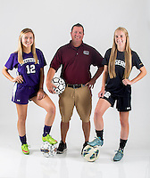 NWA Democrat-Gazette/JASON IVESTER<br /> Fayetteville's Hannah Davis (from left) (player of the year), Siloam Springs' Brent Crenshaw (coach of the year) and Bentonville's Merrill Leak (newcomer of the year); photographed on Monday, May 23, 2016, in the Springdale studio