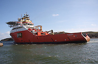 Normand Prosper an anchor handling vessel formerly known as the Polymnia leaving Aberdeen Harbour on 9.4.13.