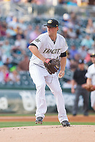 Charlotte Knights starting pitcher Charlie Leesman (41) in action against the Norfolk Tides at BB&T Ballpark on May 21, 2014 in Charlotte, North Carolina.  The Tides defeated the Knights 10-3.  (Brian Westerholt/Four Seam Images)