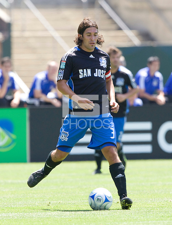 03 August 2008:  Nick Garcia of the Earthquakes dribbles the ball during the game against the Galaxy at McAfee Coliseum in Oakland, California.   San Jose Earthquakes defeated Los Angeles Galaxy, 3-2.