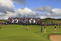 Jon Rahm (ESP) on the 13th green during Thursday's Round 1 of the 148th Open Championship, Royal Portrush Golf Club, Portrush, County Antrim, Northern Ireland. 18/07/2019.<br /> Picture Eoin Clarke / Golffile.ie<br /> <br /> All photo usage must carry mandatory copyright credit (© Golffile | Eoin Clarke)
