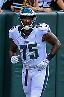 Philadelphia Eagles defensive end Vinny Curry (75) during a preseason football game against the Green Bay Packers on August 10, 2017 at Lambeau Field in Green Bay, Wisconsin. Green Bay defeated Philadelphia 24-9.  (Brad Krause/Krause Sports Photography)