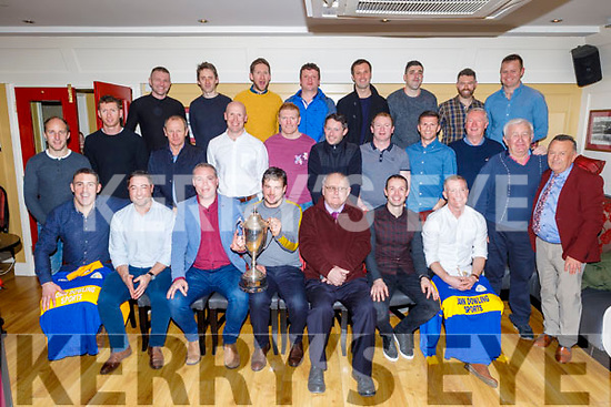 The CBS the Green team of 1999 and 2000, winners of the Corn Uí Mhire at their reunion in the Brogue Inn on Sunday. <br /> Seated l to r: John and Mark O'Connor, Declan Quill (Captain 2000) and Gareth Walsh (Captain 1999), Brother Whelan (Principal), Michael Collins and Stephen Enright.