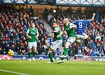 11.08.2019 Rangers v Hibs: Jermain Defoe heads in his third goal