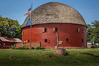 "The Round Barn in Arcadia Oklahoma was built by William Oder in 1998 and served as a home for cattle. The barn is 60' in diameter and 45' tall. The barn's second story was also used as a place for dances for the locals. The barn has become one of the best known Route 66 landmarks in the country and was placed on the National Register of Historic Places in 1977. In 1998 the barns roof collapsed and Knowing it would be no small feat, Luther ""Luke"" Robison (a retired building contractor) had long admired the Round Barn and decided that he would save it from utter ruin. He and the Over the Hill Gang, (a group of retirees) volunteered their time, money and skill to the task. The barn is now completely restored and open to the public"