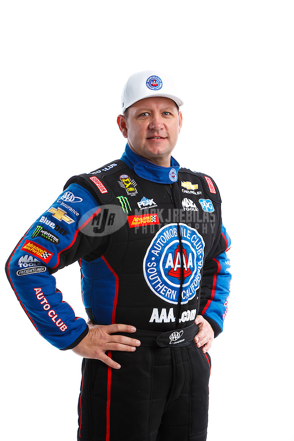 Feb 8, 2017; Pomona, CA, USA; NHRA funny car driver Robert Hight poses for a portrait during media day at Auto Club Raceway at Pomona. Mandatory Credit: Mark J. Rebilas-USA TODAY Sports