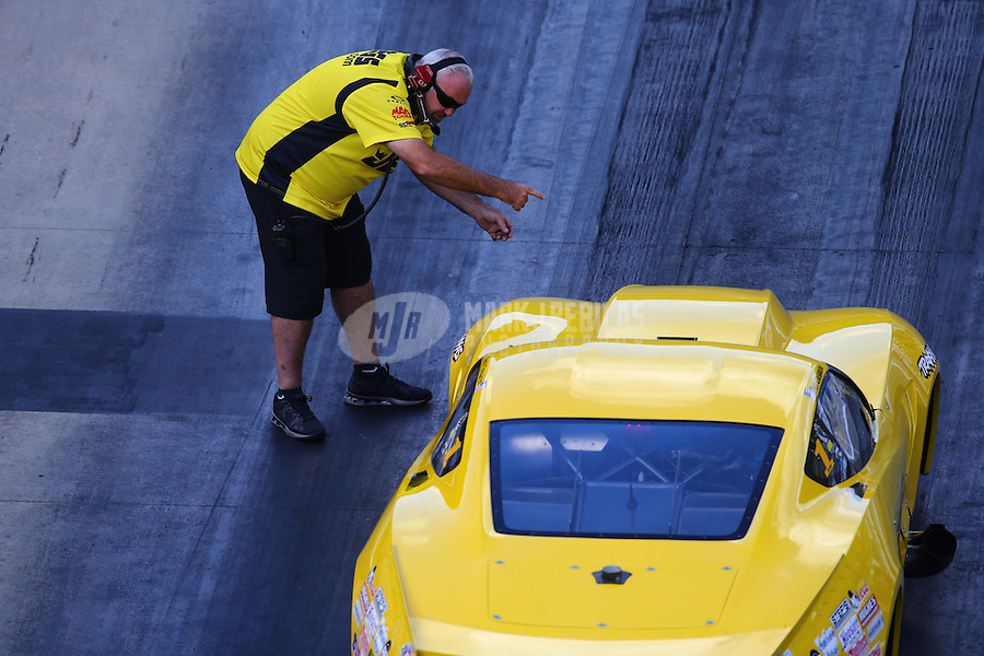 Jun 17, 2016; Bristol, TN, USA; Steve Petty , crew chief for NHRA pro mod driver Troy Coughlin during qualifying for the Thunder Valley Nationals at Bristol Dragway. Mandatory Credit: Mark J. Rebilas-USA TODAY Sports