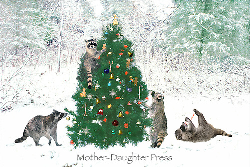 Raccoons (Procyon lotor) find decorated Christmas tree in snow